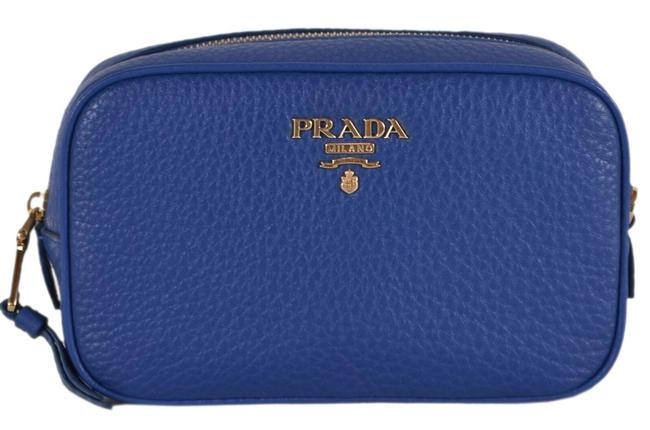 Item - Blue New 1nd007 Textured Grain Leather Metal Cosmetic Bag