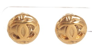 Chanel Chanel Gold CC Round Disk Vintage Clip On Earrings 97A