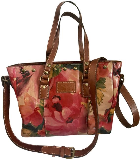Item - Convertible P16601 Spring Multi Floral Leather Tote
