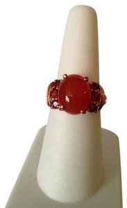 Other Red Agate & Mozambique Garnet Gemstone In 18kt Rose Gold Over Brass Ring, Size 7
