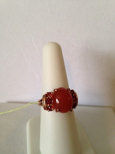 Other Red Agate & Mozambique Garnet Gemstone In 18kt Rose Gold Over Brass Ring, Size 7 Image 1