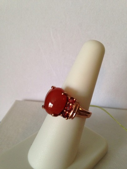 Other Red Agate & Mozambique Garnet Gemstone In 18kt Rose Gold Over Brass Ring, Size 7 Image 2