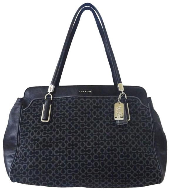 Item - Madison Op Art Kimberly Black/Grey Canvas and Leather Shoulder Bag