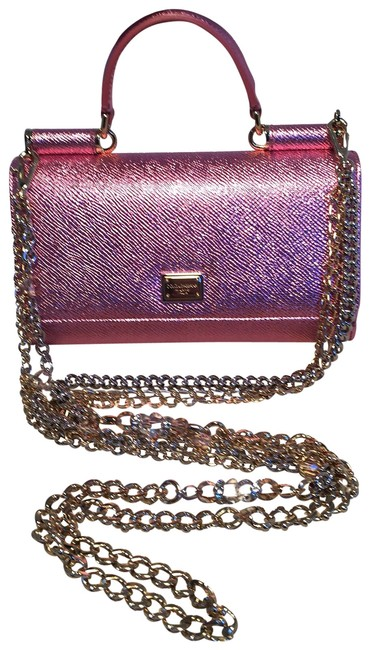 Item - Clutch Dolce and Gabbana Sicily Von Wallet Cell Phone Purse Pink Leather Baguette