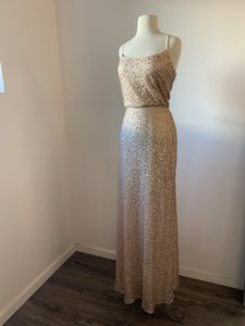 Amsale Rose Gold Sequin Gb037q Modern Bridesmaid/Mob Dress Size 8 (M)