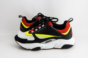 Dior Black Red and Yellow Canvas and Calfskin Sneakers Shoes