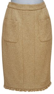 Chanel Cruise Tweed Clothing Skirt Gold