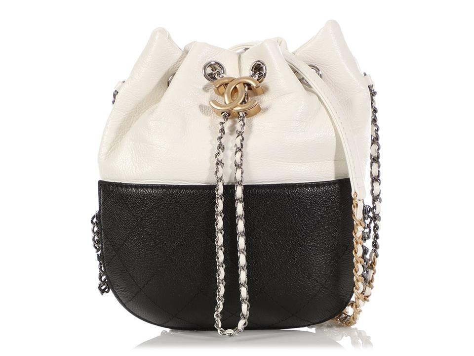 1447c7ae73fcdf Chanel Drawstring Gabrielle Small Black Caviar And White Calfskin ...