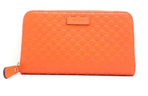 Gucci Gucci Orange Leather Microguccissima GG Logo Zip Around Wallet 449391