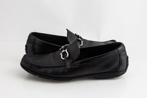 Salvatore Ferragamo Black Leather Gancini Driver Shoes