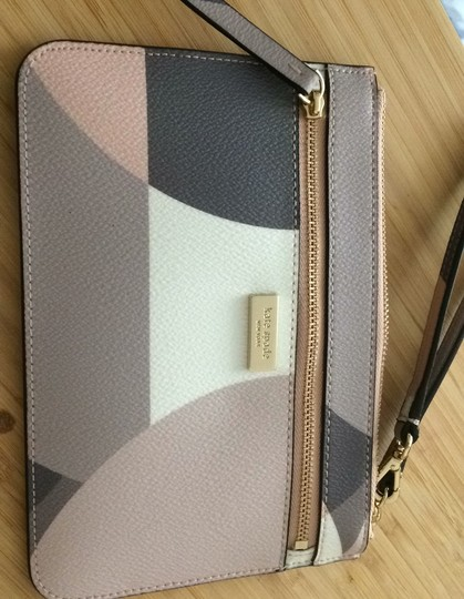 Kate Spade Pink. Brown. White. Beige. Gold Clutch Image 4
