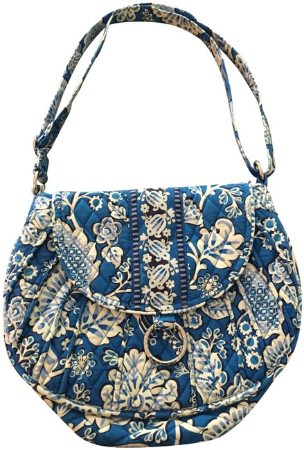 Item - Crossbody Convertible Shoulder/Crossbody Blue/White Cotton Shoulder Bag