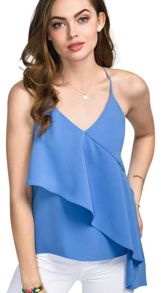 51d4bf6b25af Amanda Uprichard Strappy Ruffle Summer Night Out Date Night Top Chambray  Image 0 ...