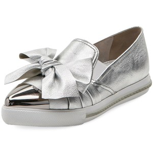 Miu Miu Made In Italy Luxury Skate Sneaker Knot Bow Pointed Toe Silver Flats