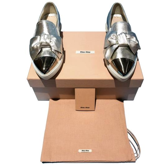 Miu Miu Made In Italy Luxury Skate Sneaker Knot Bow Pointed Toe Silver Flats Image 1