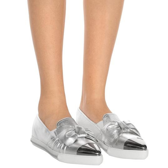 Miu Miu Made In Italy Luxury Skate Sneaker Knot Bow Pointed Toe Silver Flats Image 2