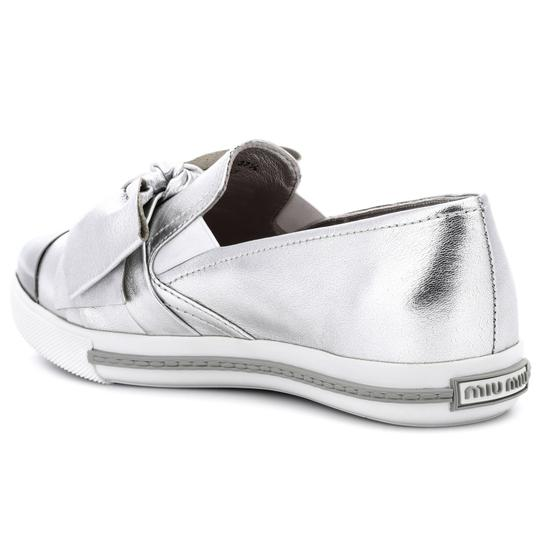 Miu Miu Made In Italy Luxury Skate Sneaker Knot Bow Pointed Toe Silver Flats Image 5
