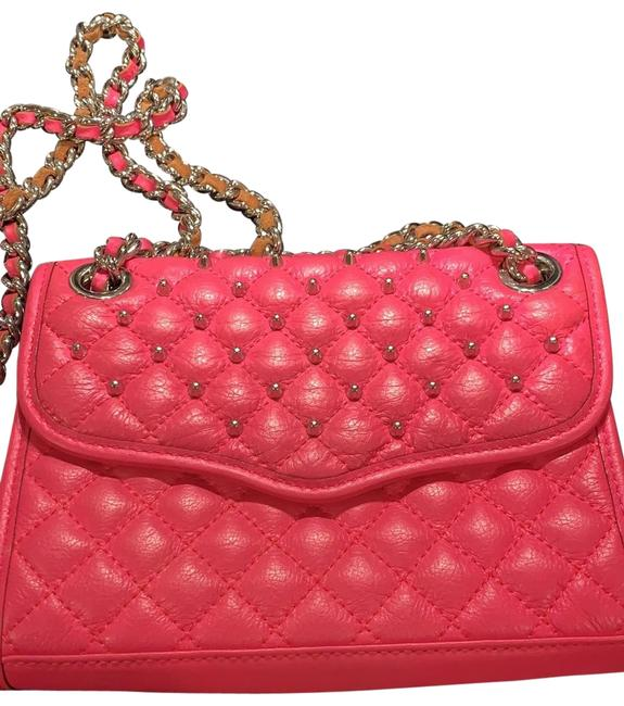 Item - Studded Hot Pink Leather Cross Body Bag