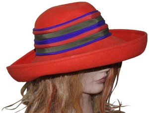 Adolfo Wool Orange Green Purple Stripes Women's Felted Hat
