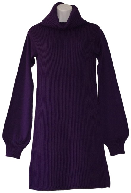 Item - Purple Merino Wool Blend Ribbed Knit Turtleneck Sweater Short Work/Office Dress Size 2 (XS)