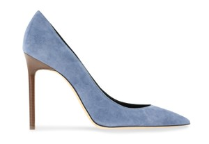 Saint Laurent Suede Leather Gold Blue Pumps