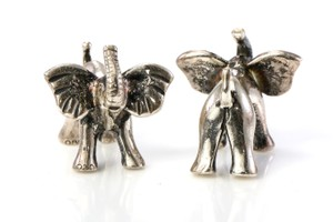 Thomas Pink Silver Pearson Elephant Cufflinks/Studs