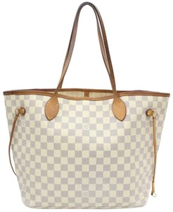 Louis Vuitton Neverfull Cream Neverfull Checker Neverfull Tote in White