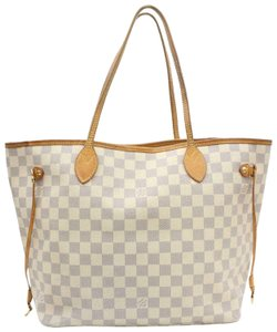 Louis Vuitton Cream Blue Checker Azure Tote in white