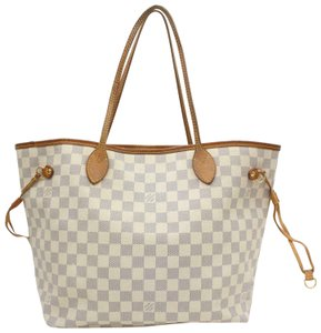 Louis Vuitton Cream Ivory Azure Checker Tote in white