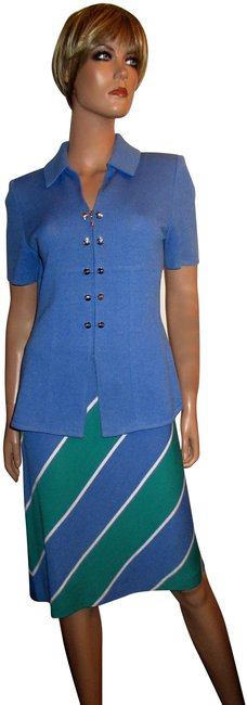 Item - Blue Green and White Santana Knit 2-piece Jacket Skirt Suit Size 4 (S)