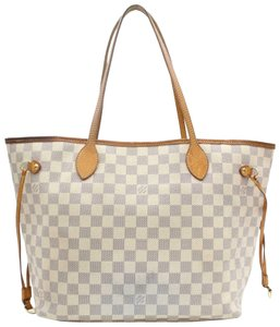 Louis Vuitton Neverfold Neverfill Neverfull Checker Neverfull Tote in white