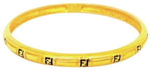 Fendi Vintage Fendi Gold Zucca Enameled Bangle in Excellent Condition