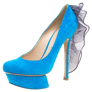 Nicholas Kirkwood Suede Leather Platform Blue Pumps