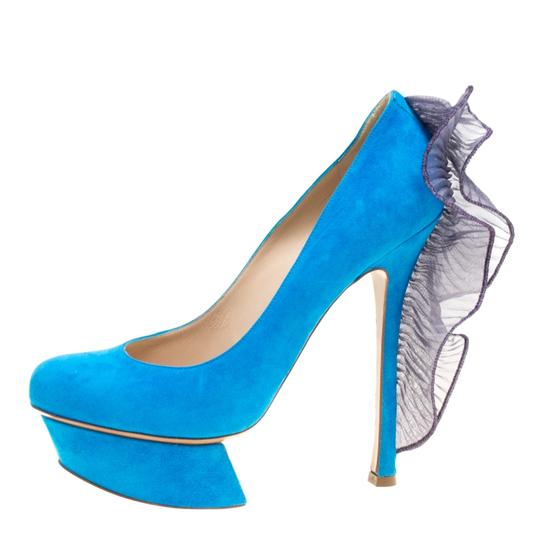 Nicholas Kirkwood Suede Leather Platform Blue Pumps Image 1