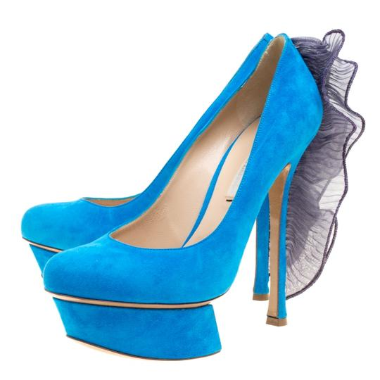 Nicholas Kirkwood Suede Leather Platform Blue Pumps Image 4