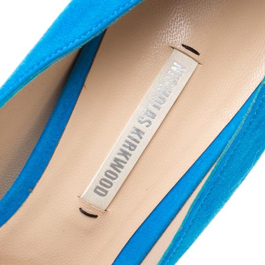 Nicholas Kirkwood Suede Leather Platform Blue Pumps Image 6