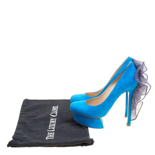 Nicholas Kirkwood Suede Leather Platform Blue Pumps Image 7