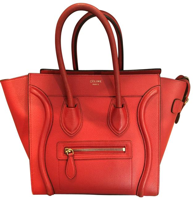 Item - Luggage Micro Red Grainy Leather Tote