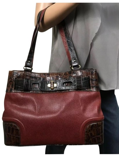 Preload https://img-static.tradesy.com/item/25310225/brahmin-elaine-25-the-anniversary-edition-rare-vintage-brown-red-leather-tote-0-1-540-540.jpg