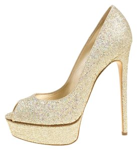 Casadei Glitter Leather Peep Toe Platform Gold Pumps