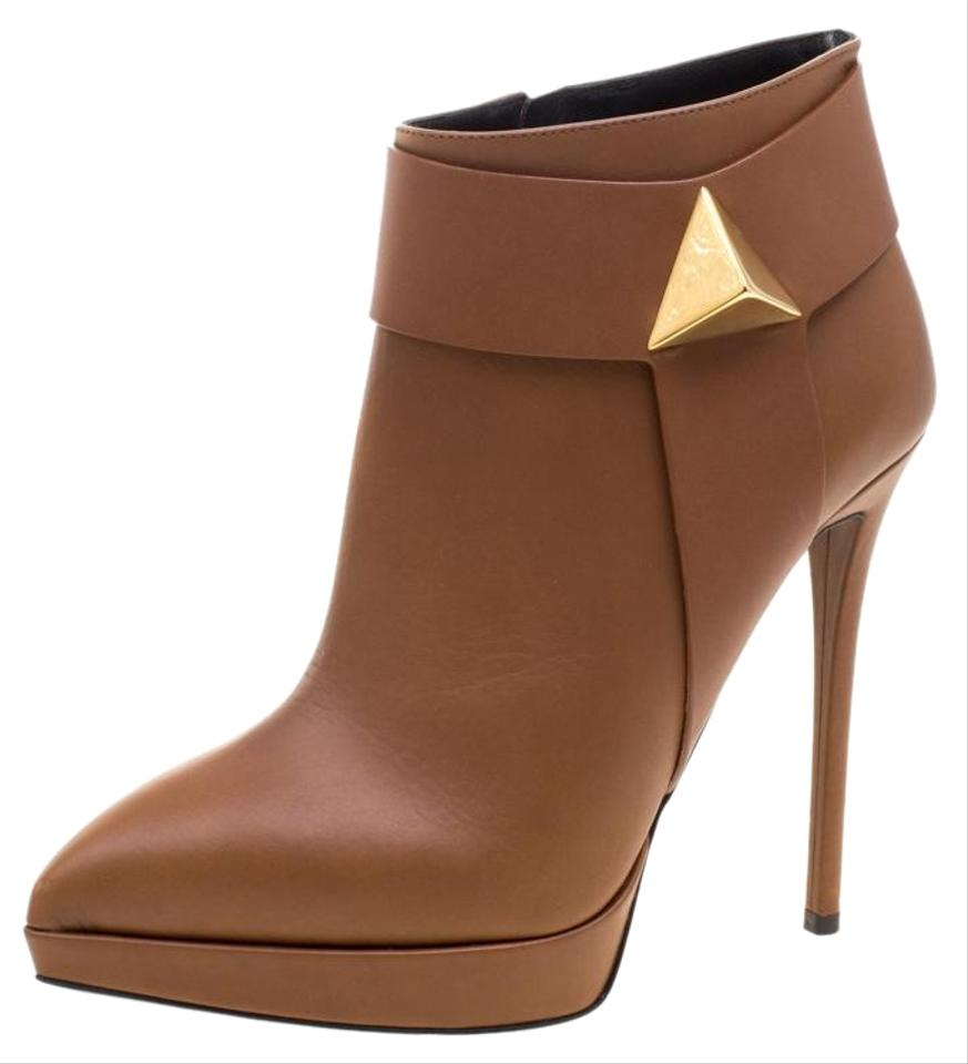 Giuseppe Zanotti Brown Leather Pyramid Stud Platform Ankle Boots/Booties  Size EU 38 5 (Approx  US 8 5) Regular (M, B) 60% off retail