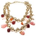 Oscar de la Renta Multi Stone Faux Pearl Gold Tone Two Strand Necklace