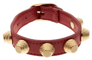 Balenciaga Arena Giant Red Leather Gold Tone Studded Bracelet M