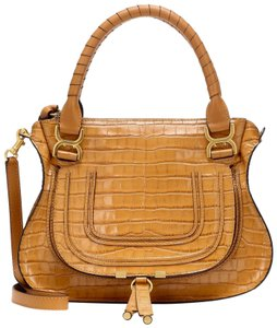 Chloé Marcie Medium Marcie Marcie Croc Embossed Croc Marcie Tote in Brown Autumnal Convertible
