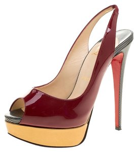 78774c11d01d Christian Louboutin Patent Leather Peep Toe Slingback Burgundy Sandals