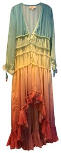 blue, green, yellow, orange, red. Maxi Dress by Rococo Sand