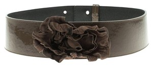 Moschino Olive Green Patent Leather Flower Waist Belt 105 CM