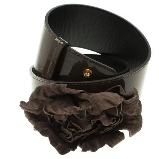 Moschino Olive Green Patent Leather Flower Waist Belt 105 CM Image 1