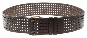 Saint Laurent Paris Dark Brown Perforated Leather Belt 90 CM