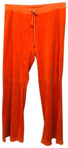 Juicy Couture JUICY COUTURE ELASTIC DRAWSTRING WAIST ORANGE VELOUR PANTS L
